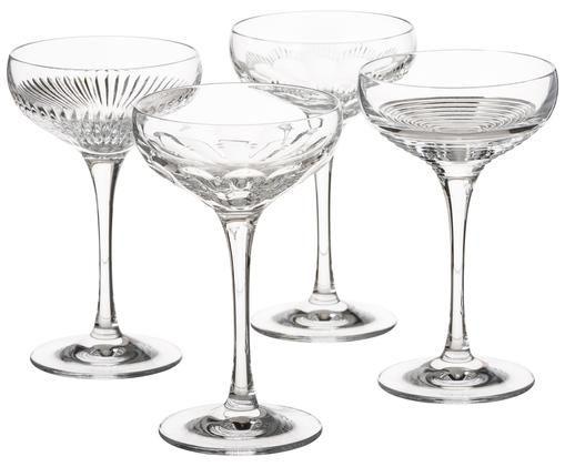 Champagneglazenset Mixology, 4-delig, Kristalglas, Transparant, 80 ml