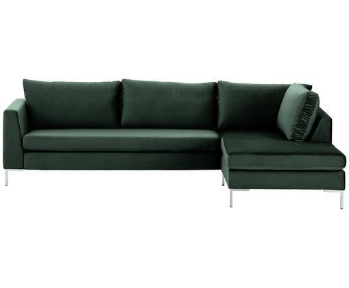 Samt-Ecksofa Luna, Bezug: Samt (Polyester) 80.000 S, Gestell: Massives Buchenholz, Füße: Metall, galvanisiert, Samt Dunkelgrün, Silber, B 280 x T 184 cm