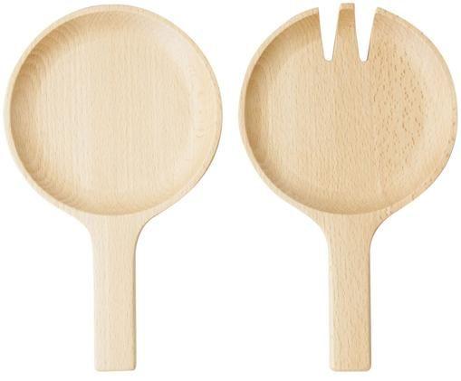 Komplet sztućców do sałatek Pan, 2 elem., Drewno bukowe, Drewno bukowe, S 13 x D 22 cm