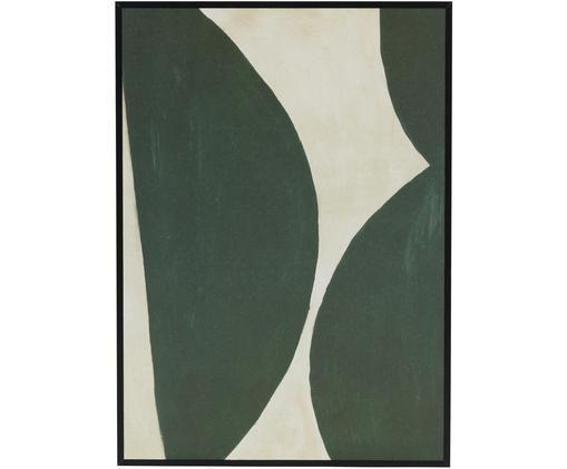 Gerahmter Digitaldruck Rera, Bild: Recyceltes Papier, Rahmen: Mitteldichte Holzfaserpla, Grün, Creme, 25 x 35 cm