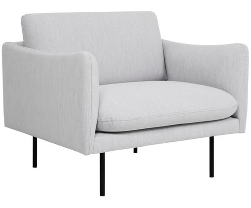 Sessel Moby, Bezug: Polyester 60.000 Scheuert, Gestell: Massives Kiefernholz, Füße: Metall, pulverbeschichtet, Hellgrau, B 90 x T 90 cm