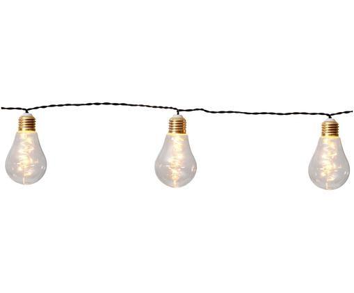 LED Lichterkette Bulb, 360 cm, Leuchtmittel: Transparent, Goldfarben Kabel: Schwarz