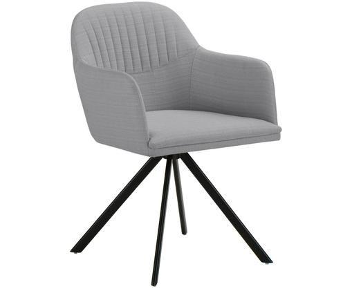 Chaise rembourrée, pivotante, à accoudoirs Lola, Pieds: noir, mat Revêtement: gris