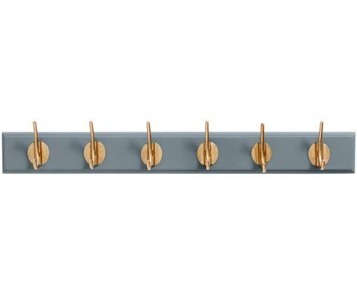 Garderobenhaken Aoife mit Metall-Haken, Leiste: Mitteldichte Holzfaserpla, Haken: Messing, Grau, 60 x 7 cm