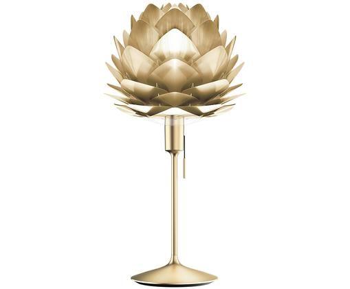 Lampada da tavolo  Silvia, Paralume: polipropilene, policarbon, Base della lampada: alluminio verniciato, Struttura: acciaio, Ottonato, Ø 32 x Alt. 67 cm