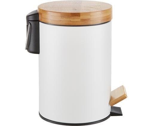Kosz na śmieci z funkcją pedału Ran, Korpus: metal lakierowany, Biały, kolor drewna bambusowego, Ø 18 x W 27 cm