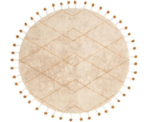 Tappeto rotondo in cotone Tanvi, Cotone, Beige, arancione, Ø 135 x Alt. 1 cm