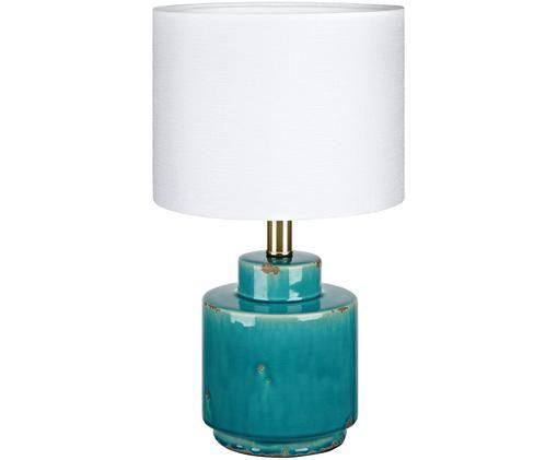 Lámpara de mesa Cous, Pantalla: blanco Base de la lámpara: azul con efecto envejecido