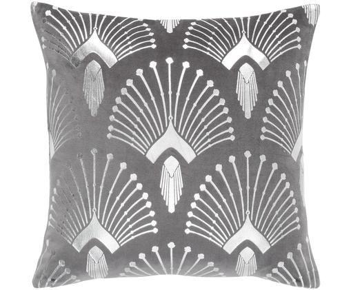 Poszewka na poduszkę z aksamitu Carrie, 100% aksamit, Ciemnyszary, odcienie srebrnego, S 50 x D 50 cm