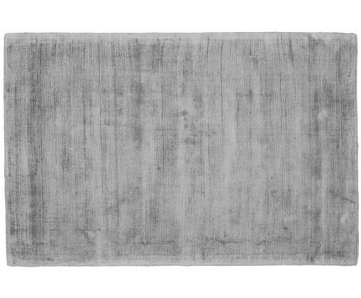Alfombra artesanal de viscosa Jane, Parte superior: 100%viscosa, Reverso: 100%algodón, Gris, An 120 x L 180 cm