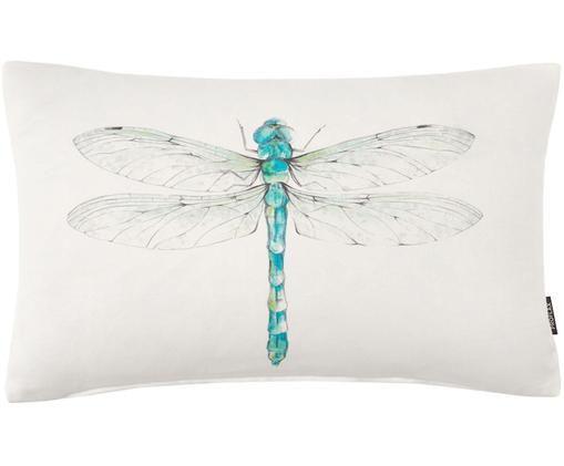 Federa arredo con motivo acquerello Livella, Cotone, Bianco, turchese, verde, Larg. 30 x Lung. 50 cm