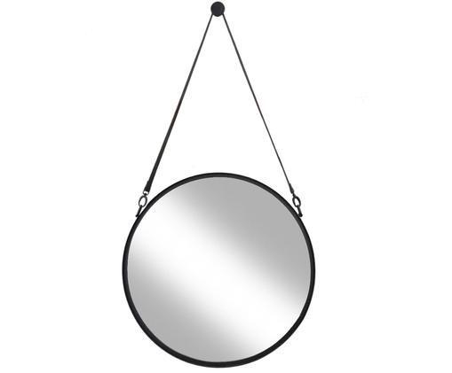 Runder Wandspiegel Liz mit schwarzer Lederschlaufe, Rahmen: Eisen, pulverbeschichtet, Spiegelfläche: Spiegelglas, Schwarz, Ø 60 cm