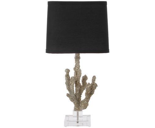 Lámpara de sobremesa Coral, Transparente, plateado pantalla: negro