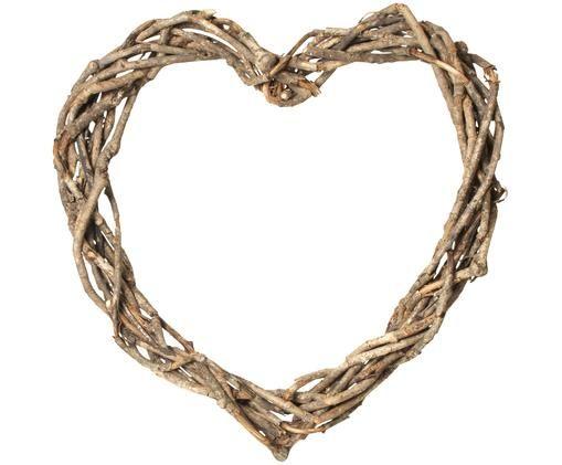 Dekoracja Heart, Rattan, Brązowy, S 40 x W 40 cm