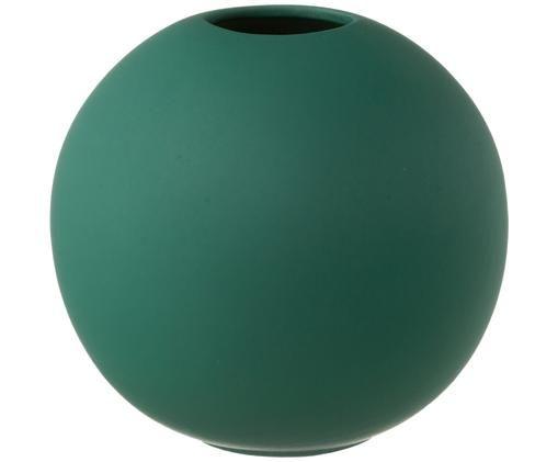 Jarrón pequeño artesanal Ball, Cerámica, Verde oscuro, Ø 10 x Al 10 cm