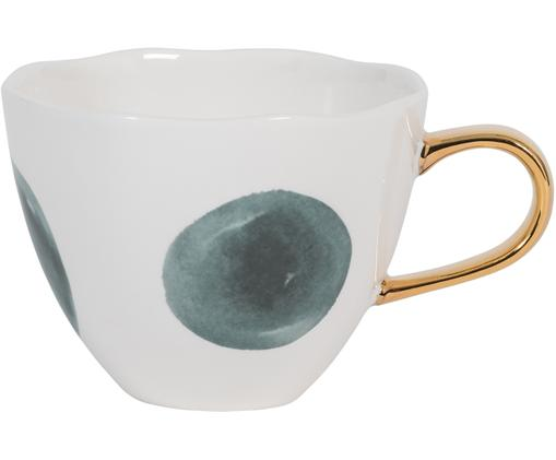 Tasse Good Morning mit goldenem Griff, New Bone China, Weiß, Blau, Ø 11 x H 8 cm