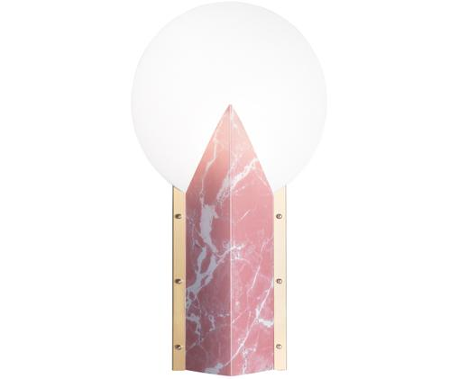 Design tafellamp Moon, Lampenkap: technopolymeer Opalflex®,, Lampvoet: gecoat aluminium, Rand: geborsteld messing, Wit, roze, 30 x 57 cm