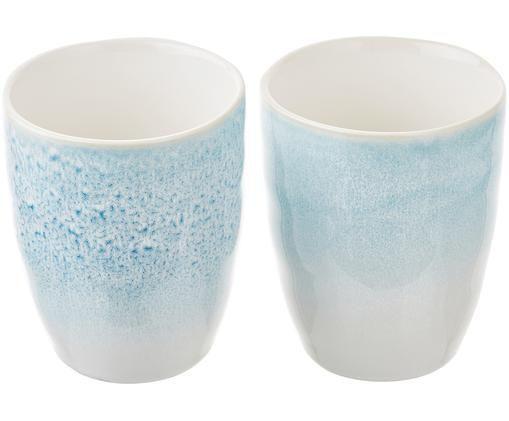Mugs artisanales Amalia, 2 pièces, Bleu ciel, blanc crème