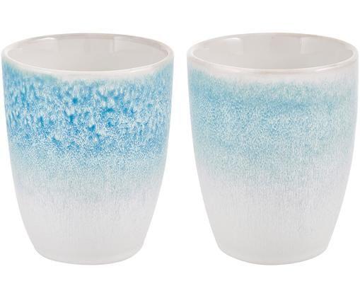 Handgemachte Becher Amalia, 2 Stück, Porzellan, Hellblau, Cremeweiß, Ø 10 x H 11 cm
