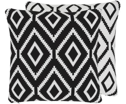 Dwustronna poszewka na poduszkę z dzianiny Chuck, 100% bawełna, Czarny, kremowobiały, S 40 x D 40 cm