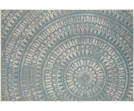 Gemusterter In- und Outdoorteppich Arnon, Polypropylen, Türkis, Beige, B 140 x L 200 cm (Größe S)