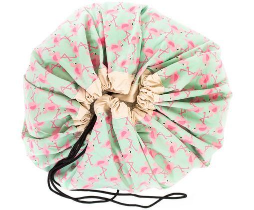 Sac à jouets - tapis de jeux Flamingo, Vert menthe, rose, crème