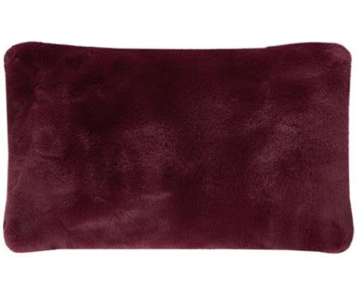 Federa arredo in similpelle Mette, Retro: 100% poliestere, Rosso scuro, Larg. 30 x Lung. 50 cm
