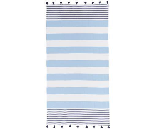 Gestreiftes Hamamtuch Pytris mit Quasten, Baumwolle Sehr leichte Qualität, 185 g/m², Hellblau, Dunkelblau, Weiß, 95 x 175 cm