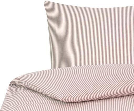 Renforcé-Bettwäsche Ellie, fein gestreift, Webart: Renforcé, Weiß, Rot, 135 x 200 cm