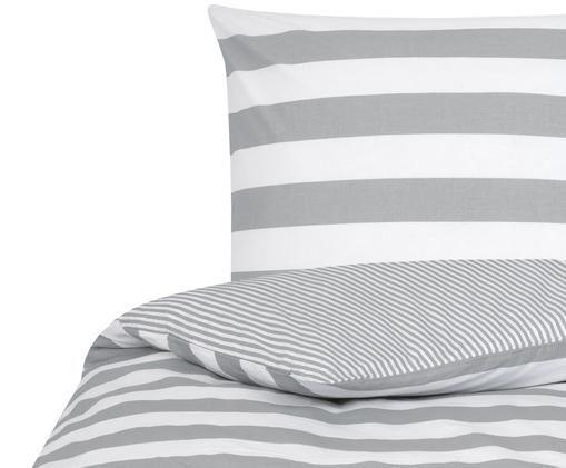 Parure copripiumino renforcé Lorena, Tessuto: Renforcé, Bianco, grigio chiaro, 155 x 200 cm