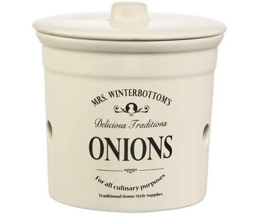 Aufbewahrungsdose Mrs Winterbottoms Onions, Creme, Schwarz
