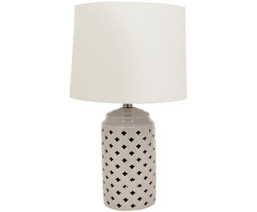Lampada da tavolo Naomi, Base della lampada: ceramica, Paralume: 100% lino, Bianco, taupe, Ø 31 x Alt. 51 cm