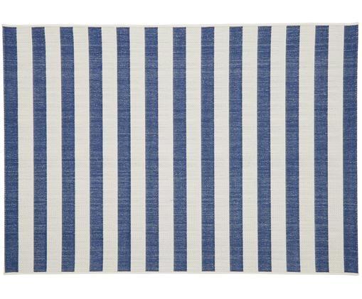 Gestreifter In- & Outdoorteppich Axa, Flor: Polypropylen, Cremeweiß, Blau, B 200 x L 290 cm (Größe L)