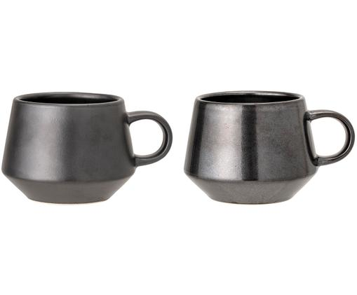Set tazze da caffè Leah, 2 pz., Gres, Nero, Ø 11 x A 9 cm