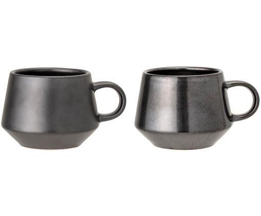 Kaffeetassen-Set Leah, 2-tlg., Steingut, Schwarz, Ø 11 x H 9 cm