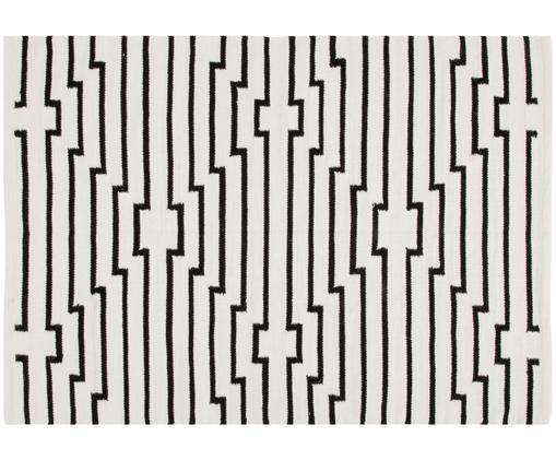 Ręcznie tkany dywan Cora, Czarny, kremowy