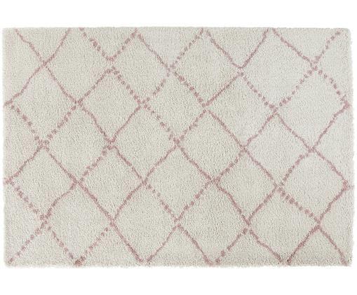 Pluizig hoogpolig vloerkleed Hash in roze-crèmekleur, Bovenzijde: polypropyleen, Onderzijde: jute, Crèmekleurig, roze, 120 x 170 cm