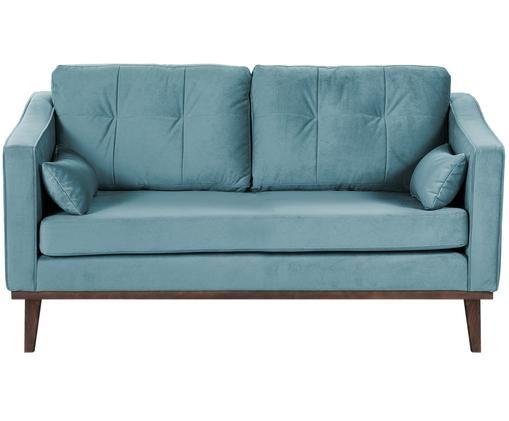 Samt-Sofa Alva (2-Sitzer), Bezug: Samt (Hochwertiger Polyes, Gestell: Massives Kiefernholz, Beine: Massives Buchenholz, gebe, Türkis, B 160 x T 94 cm