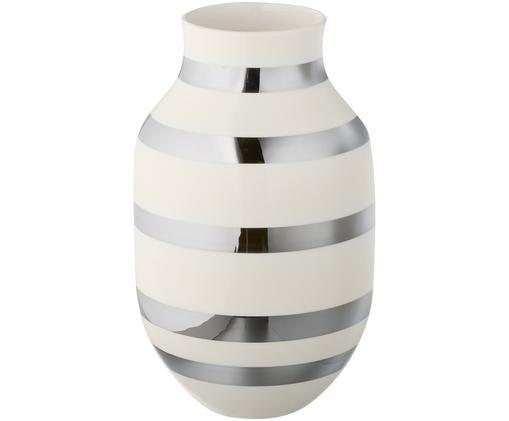 Grand vase design fait main Omaggio, Couleur argentée, brillant, blanc