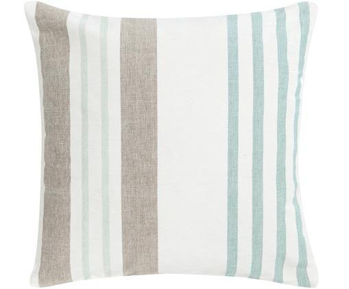 Cuscino a righe multicolore Beach House, con imbottitura, Bianco, marrone, turchese, Larg. 45 x Lung. 45 cm