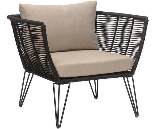 Outdoor lounge fauteuil Mundo, Frame: gepoedercoat metaal, Zitvlak: polyethyleen, Mat zwart, beige, B 87 x D 74 cm