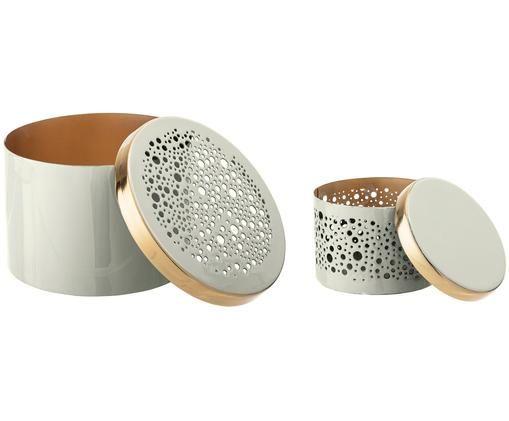 Set de cajas decorativas Enzo, 2pzas., Exterior: gris claro Interior: dorado