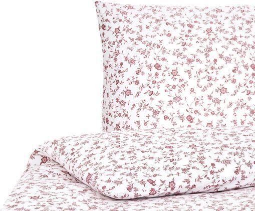 Renforcé-Bettwäsche Anja mit Blumenmuster, Weiß, Rot