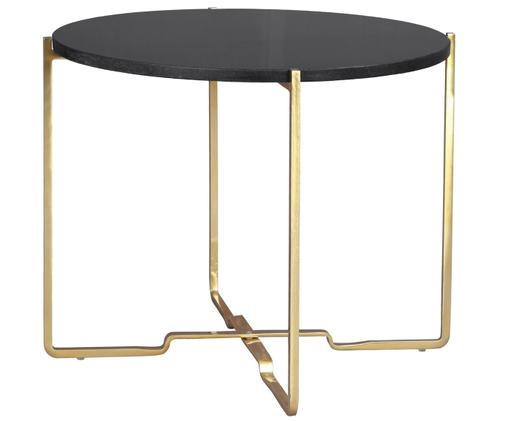Tavolino in granito Jana, Piano d'appoggio: granito nero Struttura: oro