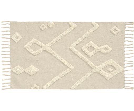 Tappeto con decori trapuntati Canvas, Cotone, Bianco latteo, Larg. 60 x Lung. 90 cm (taglia XXS)