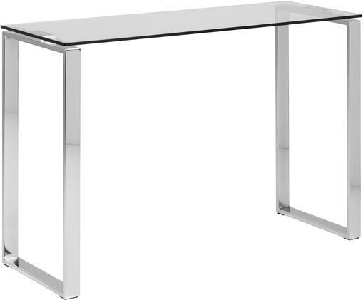 Glazen sidetable Katrine met zilverkleurige frame, Glas, metaal, Transparant, 110 x 76 cm