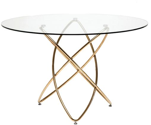 Tavolo da pranzo Molekular, Piano d'appoggio: trasparente Gambe: dorato