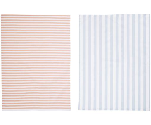 Set strofinacci Rebeccah, 2 pz., Cotone, Bianco, blu pastello, Rose, P 50 x L 70 cm