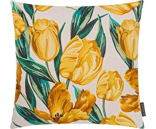 Federa reversibile con stampa tulipani Tulipa, 85% cotone, 15% lino, Beige, giallo, verde, Larg. 50 x Lung. 50 cm