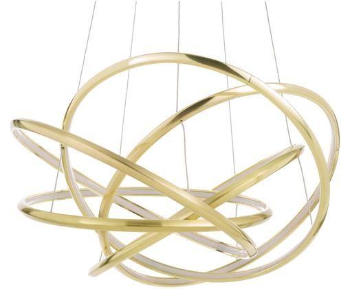 Lampada a sospensione a LED Saturn, Paralume: alluminio verniciato a po, Baldacchino: acciaio ottonato, Dorato, Ø 72 x Alt. 75 cm